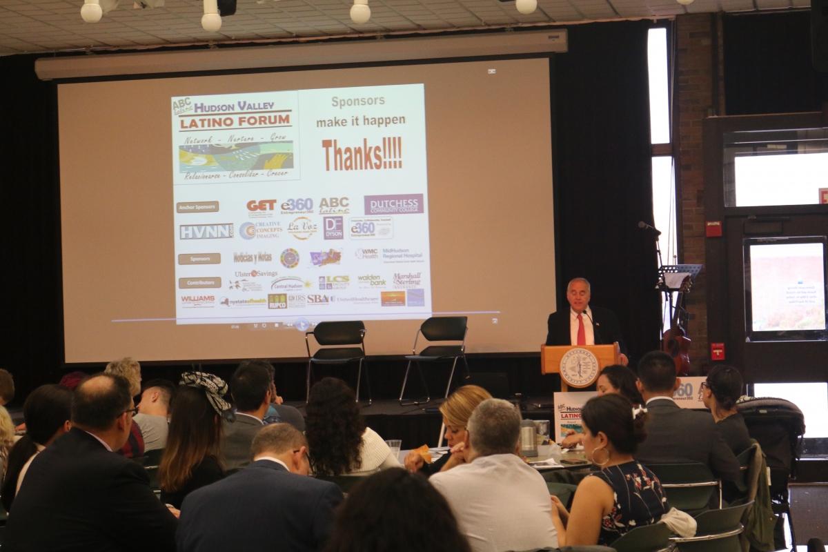 NYS Comptroller, Thomas P. DiNapoli gives the keynote speaker at the Latino