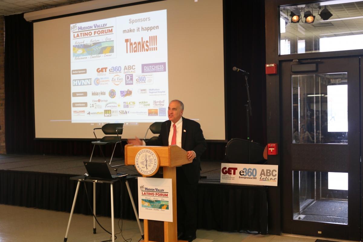 NYS Comptroller, Thomas P. DiNapoli gives the keynote speech at the Latino